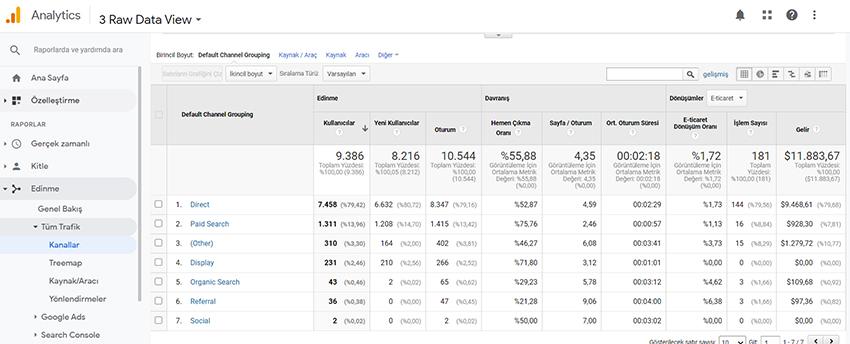 Google analytics verileri